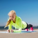 Woman plank to eliminate back pain